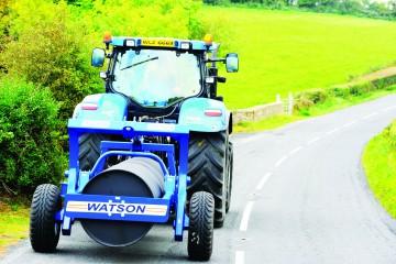 """Walter Watson 3m x 36"""" x 14mm Water Ballast Land Roller c/w Rear Hydraulic Wheel Kit"""